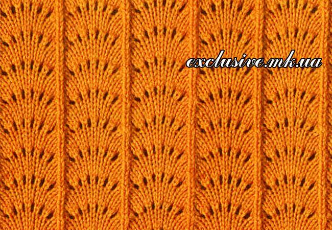 Узор Павлиний хвост. Вязание спицами. вязание-узоры