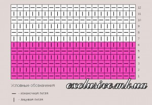 схема двухцветной поперечной резинки 6х6
