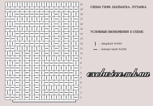 схема узора шахматка-путанка