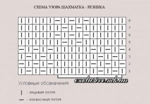 схема узора шахматка-резинка