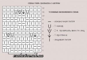 схема узора шахматка-плетенка с ажуром
