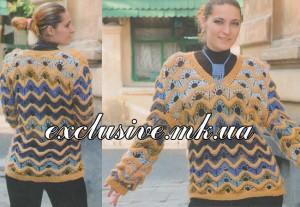Пуловер зигзагообразым узором