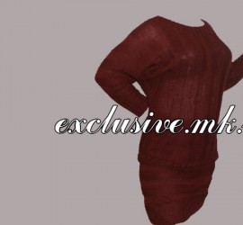 Вишневый костюм поперечной резинкой