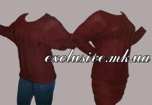 Вишневый пуловер поперечной резинкой