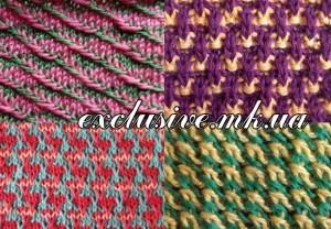 Многоцветные узоры спицами