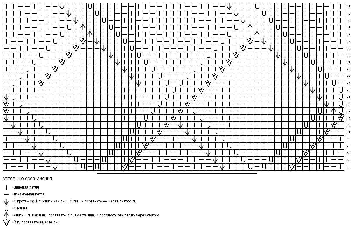 Ажурный узор ромб на спицах схема описание