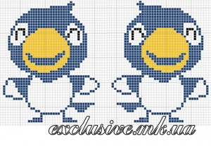 Схема орнамента - синие птички