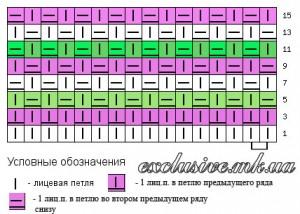 Схема трехцветного узора