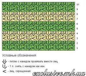 Схема двухцветного узора штрихи