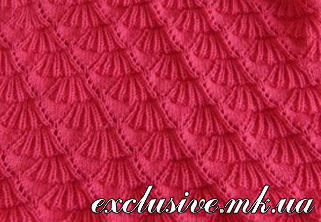 Вязание спицами узор-веерок 13
