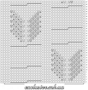 Схема 2 крупный ажурный узор с косами