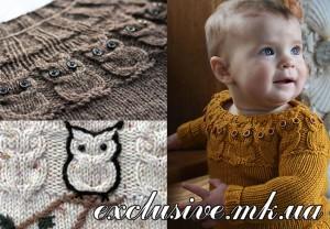 узор-сова в детском вязании