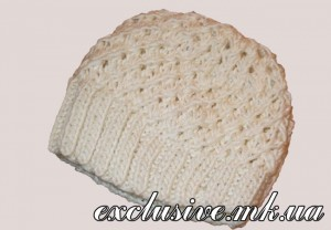 шапка узором звездочка спицами