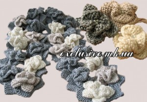 цветочный шарф спицами