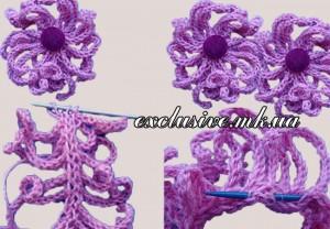 вязание цветов спицами