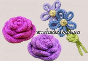 вязаные цветы из шнуров