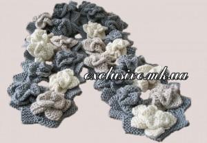 шарф из цветов спицами