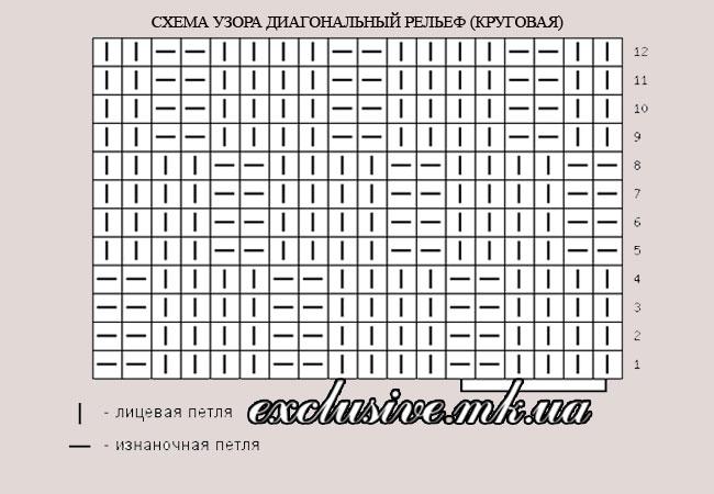 схема узора диагональный рельеф для кругового вязания