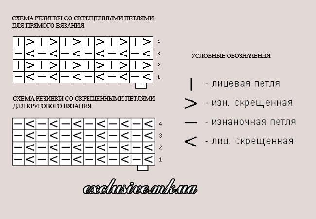 схема резинки со скрещенными петлями