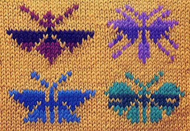 жаккардовые бабочки спицами
