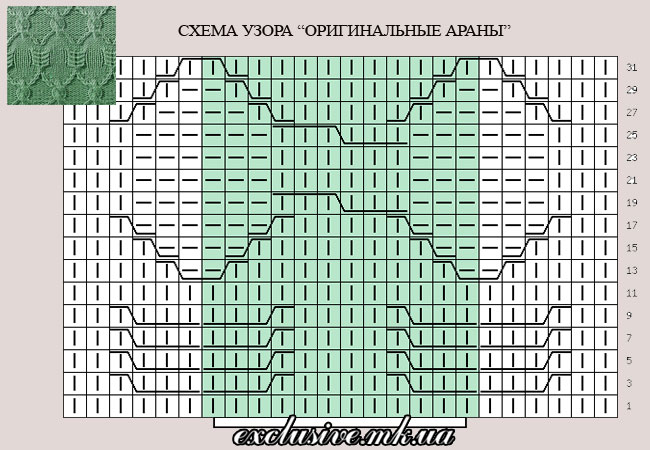 схема узора оригинальные араны
