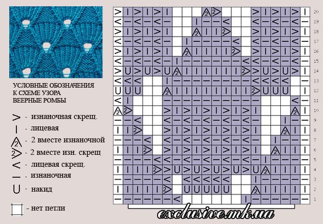 схема узора веерные ромбы