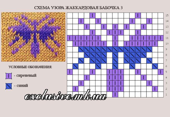 схема узора жаккардовая бабочка 3