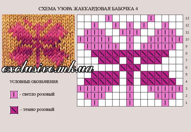 схема узора жаккардовая бабочка 4