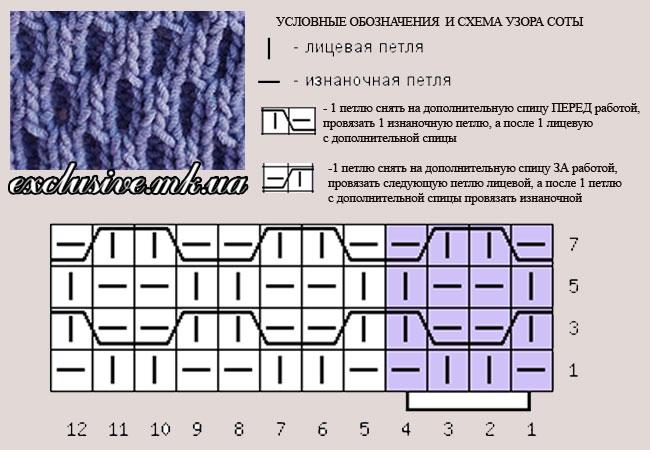 Вязание. схемы вязания соты 127
