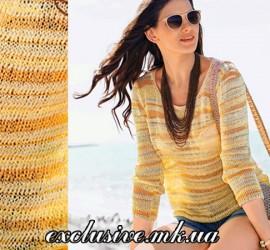 модели спицами: летний пуловер в солнечных тонах