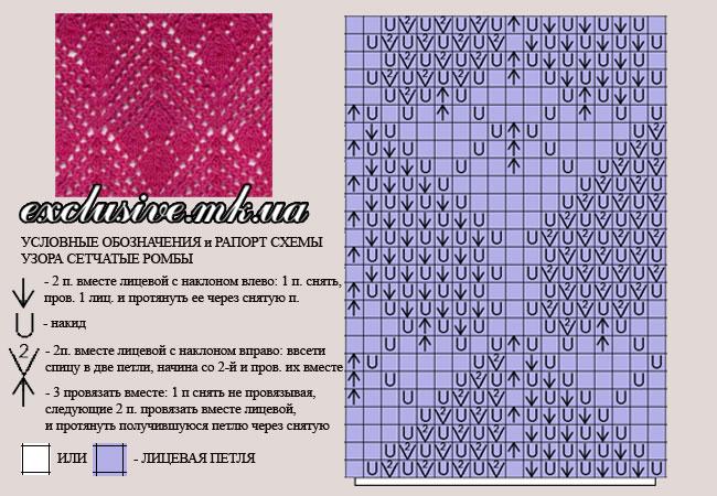 условные обозначения к схеме узора сетчатые ромбы