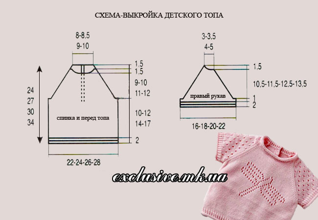 схема-выкройка розового топа