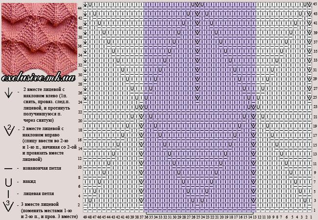 схема узора рельефные ромбы