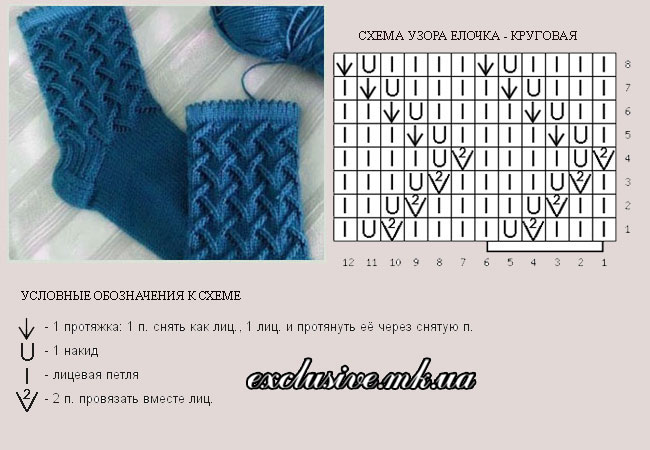 Вязание узор елочка схема 65