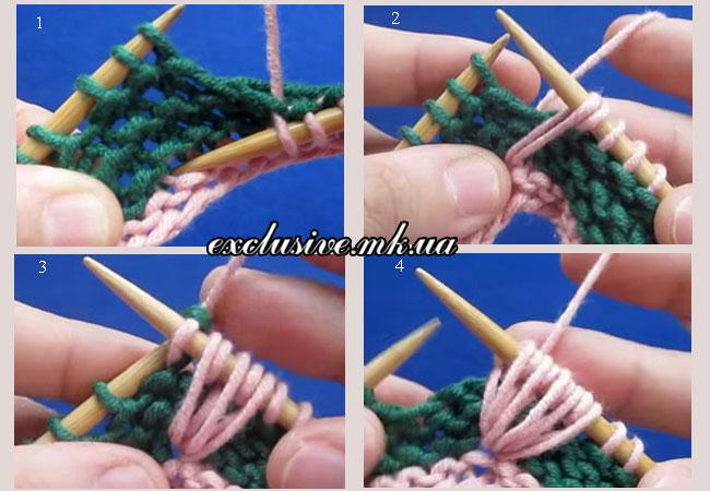 этапы-вязания-веерного-узора