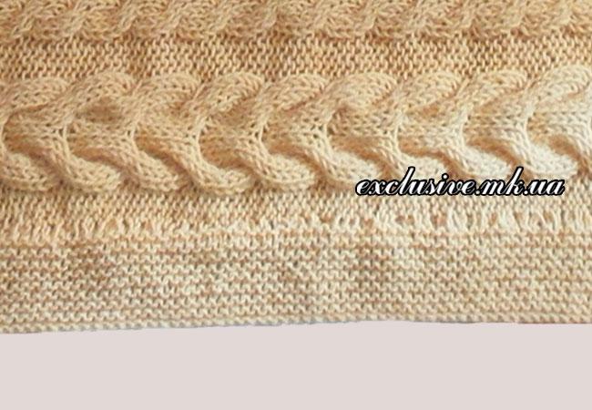обработка краев пледа платочной вязкой