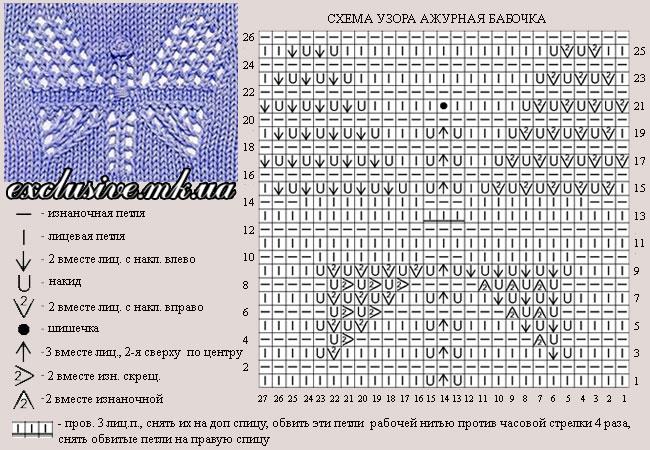 Вязание бабочек спицами схемы и описание 42