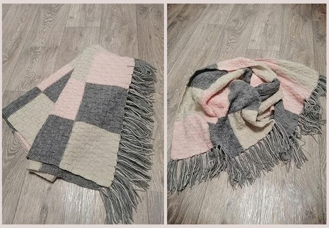 шарф узором щахматка
