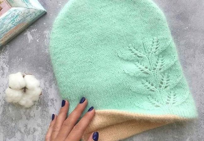 двойная шапка бини с узором листочки