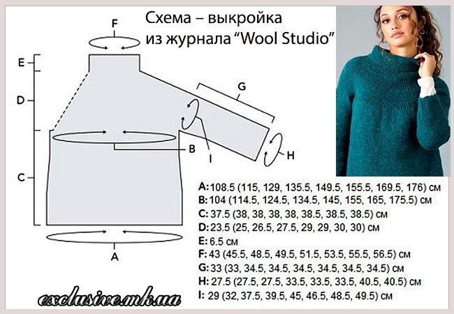 схема выкройка свитера с кокеткой
