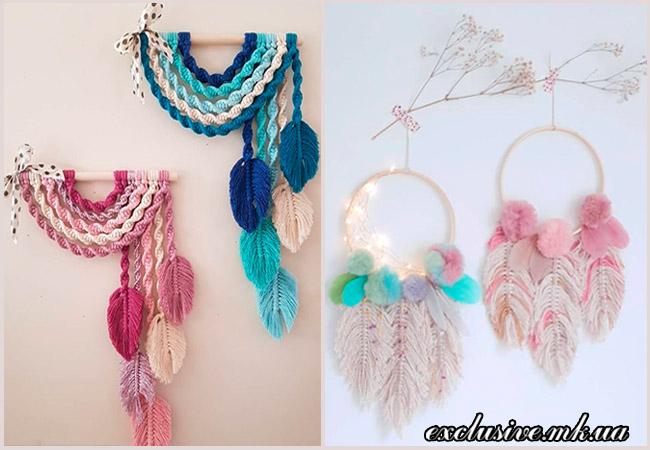 декор из текстильных перьев