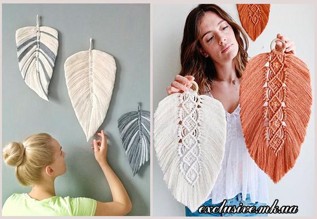 идеи декора из текстильных перьев