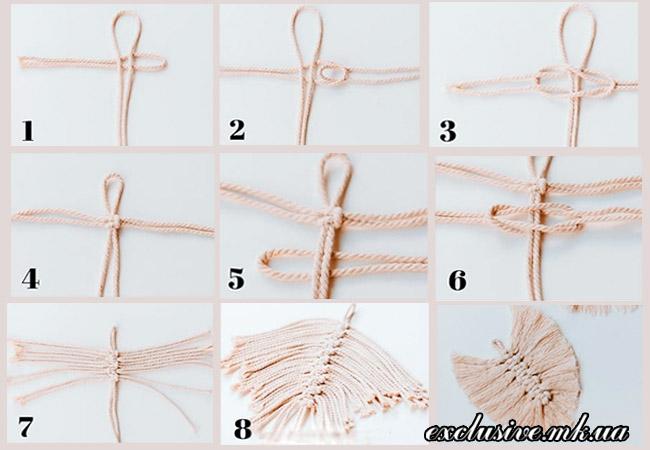 как сделать перо из ниток